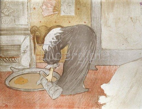 Henri de Toulouse-Lautrec: Frau am Wasserzuber. Aus der Serie 'Elles'. 1896