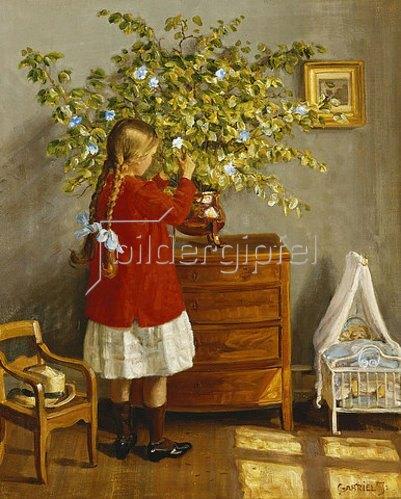 Gabriel Oluf Jensen: Mädchen beim Aufstellen eines Blumenstraußes.