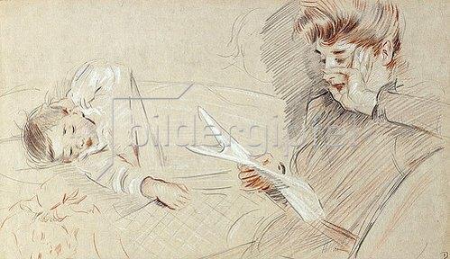 Paul César François Helleu: Madame Helleu lesend, mit Paulette, die neben ihr liegt.