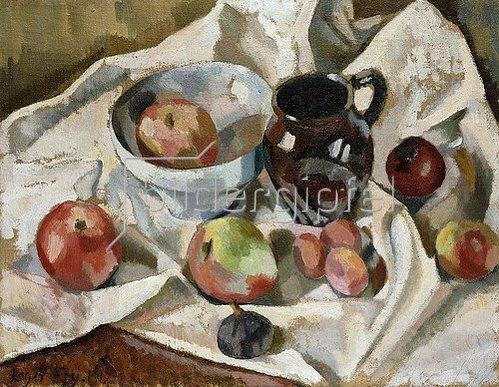 Roger Fry: Stillleben mit Äpfeln, Pflaumen und einem Krug. 1919
