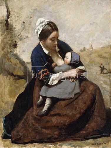 Jean-Baptiste Camille Corot: Stillende Bretonin (Bretonne Allaitant son Enfant). 1855-60