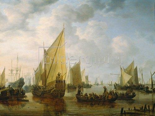 Simon de Vlieger: Flottenbesuch Frederik Hendricks II. von Oranien vor Dordrecht, 1646.  1649.