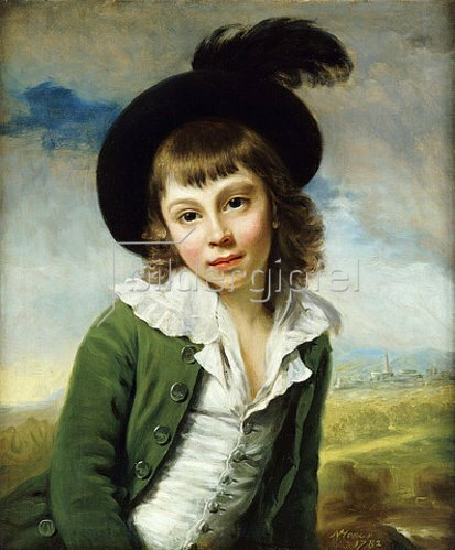 Nathaniel Hone: Bildnis eines Knaben in einer grünen Jacke und einem Federhut. 1782