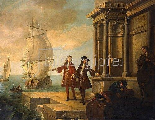 Jean-Baptiste Oudry: Die vier Kontinente - Europa: Kaufleute mit Hafenarbeitern, die Fässer transportieren. 1724