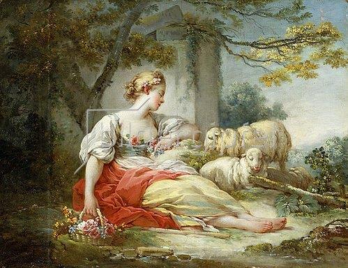 Jean Honoré Fragonard: Eine Hirtin mit ihren Schafen und einem Blumenkörbchen in einer Waldlandschaft.