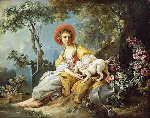 Jean Honoré Fragonard: Eine junge Frau mit ihrem Hund in einem Garten.