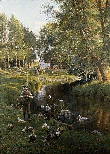 Frants Henningsen: An einem Fluss im dänischen Apperup. 1892