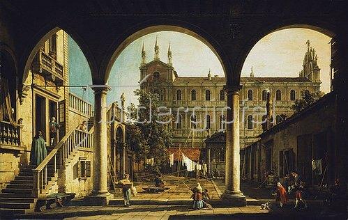 Canaletto (Giovanni Antonio Canal): Venezianisches Capriccio: die Scuola di San Marco vom Palazzo Grifalconi Loredan aus.