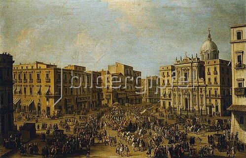 Antonio Joli: Platz mit San Ferdinando in Neapel, Ankunft einer königlichen Kutsche.