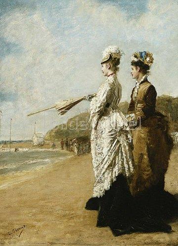 Charles Francois Pecrus: Am Strand von Trouville. 1875