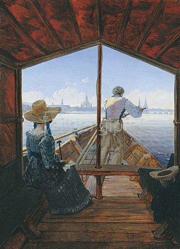 Carl Gustav Carus: Die Kahnfahrt auf der Elbe bei Dresden (Ein Morgen auf der Elbe). 1827