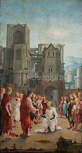 Süddeutsch: Die Schlüsselübergabe Christi an Petrus. Erste Hälfte des 16. Jahrhunderts.