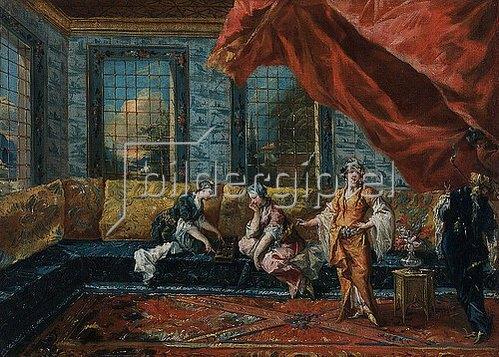Francesco Guardi: Zwei Odalisken spielen Mancala im Harem. 1742/1743