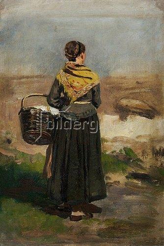 Eugen Dücker: Rückenfigur einer stehenden Frau in Landschaft (Studie). Vor 1879