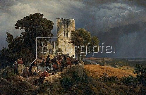 Carl Friedrich Lessing: Die Belagerung (Verteidigung eines Kirchhofs im Dreißigjährigen Krieg). 1848