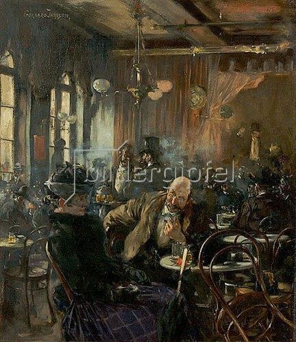 Gerhard Janssen: Die alte Bockhalle in Düsseldorf. Um 1890