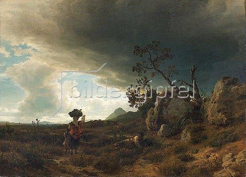 Oswald Achenbach: Campagna ? Landschaft bei aufkommendem Gewitter. Um 1853