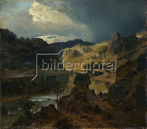 Andreas Achenbach: Gebirgige Flusslandschaft. 1834