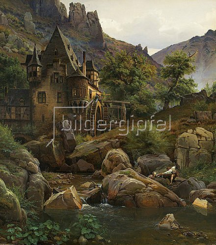 Eduard Wilhelm Pose: Landschaft mit Mühle im Morgenbachtal. 1833