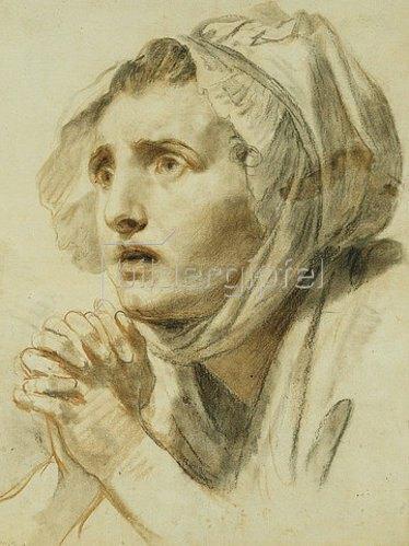 Jean Baptiste Greuze: Frau mit gefalteten Händen und angstvollem Blick.