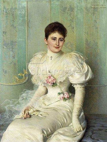 Vittorio Matteo Corcos: Portrait einer Dame in einem weißen Kleid. 1895