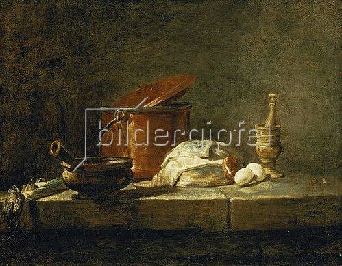 Jean-Baptiste Siméon Chardin: Stillleben mit Kupferkessel, einem Mörser und Gemüse. 1734