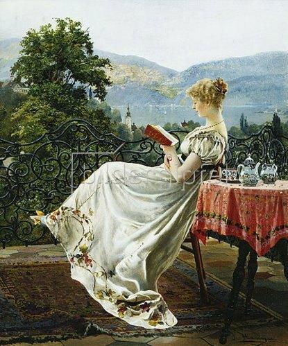 Johann Hamza: Lesende auf einer Terrasse.