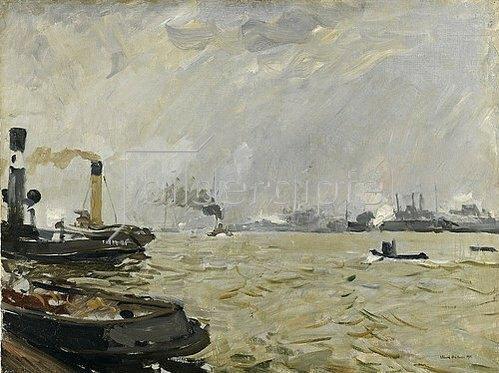 Ulrich Hübner: Hamburger Hafen (grau). 1916