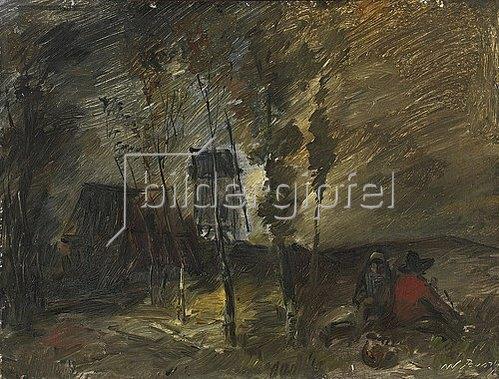 Wilhelm Busch: Stürmische Herbstlandschaft mit Windmühle. 1891