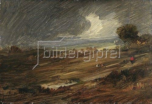 Wilhelm Busch: Regenlandschaft mit einem einsamen Wanderer. 1890-95