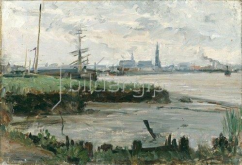 Albert Gottschalk: Antwerpener Hafenlandschaft. 1889