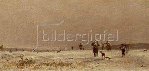 Adolf Heinrich Lier: Winterliche Jagd. Um 1880.