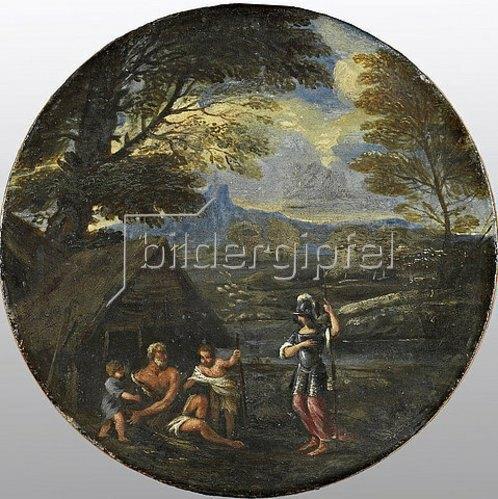 Francesco Giovane: Erminia sucht bei den Hirten Zuflucht. Mitte 17. Jahrhundert