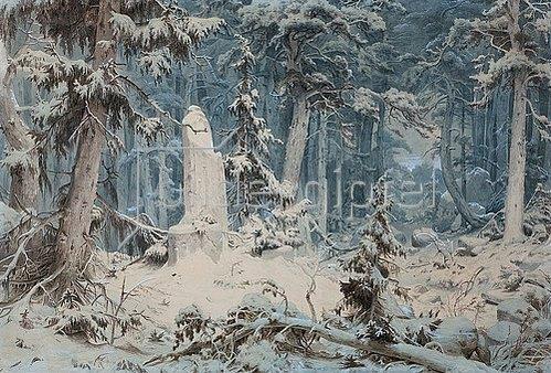Andreas Achenbach: Verschneiter Wald (oder: Runenstein). 1835