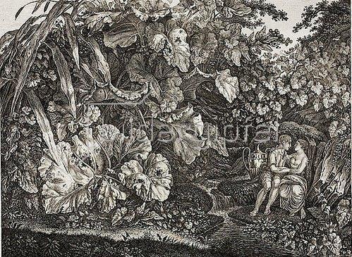 Carl Wilhelm der Ältere Kolbe: Liebespaar in einer Grotte, umgeben von Pflanzen und Kräutern. Um 1830/1835