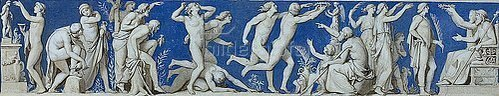 Eduard Bendemann: Entwurf für den Fries im Ball- und Konzertsaal des Dresdner Schlosses, zweites Bild: Gymnastische Spiele. Um 1838
