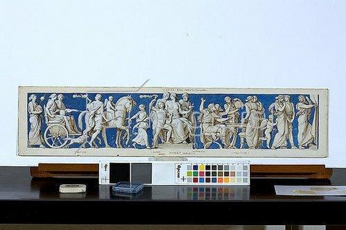 Eduard Bendemann: Entwurf für den Fries im Ball- und Konzertsaal des Dresdner Schlosses, viertes Bild: Hochzeit. Um 1838