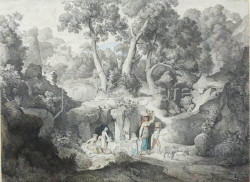 Karl Heinrich Dreber: Heroische Landschaft mit Landleuten beim Brunnen. 1847