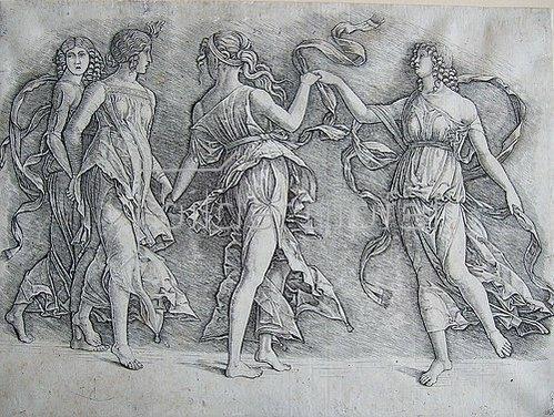 Andrea Zoan: Vier tanzende Musen. Um 1497
