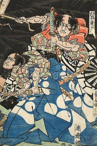 Utagawa Kuniyoshi: Usuino Sadamitsu und Watanabeno Tsuna, die Gefolgsleute des Raiko. Um 1821