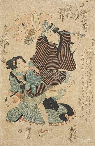 Utagawa Kuniyoshi: Sawamura Tosho als Heimkehrer vom Kirschblütenfest und Segawa Michinosuke als die Schlagersängerin Ohama (Aus der Tanzfolge Fünffacher Reigen). Um 1830