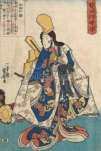 Utagawa Kuniyoshi: Die Shirabyoshi-Tänzerin Shizuka (Aus der Serie Geschichten von klugen und treuen Frauen). Um 1841