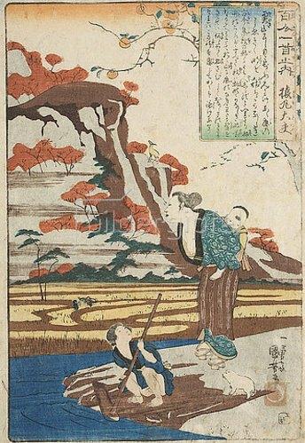 Utagawa Kuniyoshi: Sarumarus Herbstgedicht Tief im Gebirge sowie eine häusliche Szene (Gedicht 5 aus der Serie Die 100 Gedichte und ihre Dichter). Um 1840