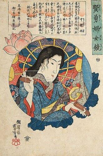 Utagawa Kuniyoshi: Chujo Hime (Aus der Serie Spiegel von Frauenmut und Frauenklugheit). Um 1843