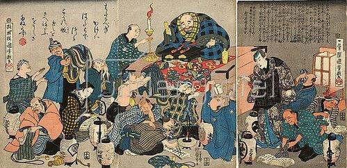 Utagawa Kuniyoshi: Der Mönch Ikkyu predigt über die Höllenqualen der Reichen. Um 1844