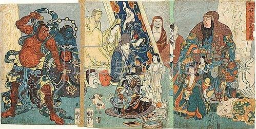 Utagawa Kuniyoshi: Der berühmte Linkshänder Jingoro, dem auch unter Rechtshändern keiner gleichkam. Um 1848