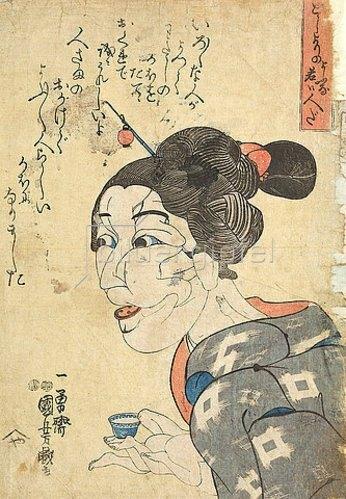 Utagawa Kuniyoshi: Sie gibt sich alt, ist aber jung. Um 1847