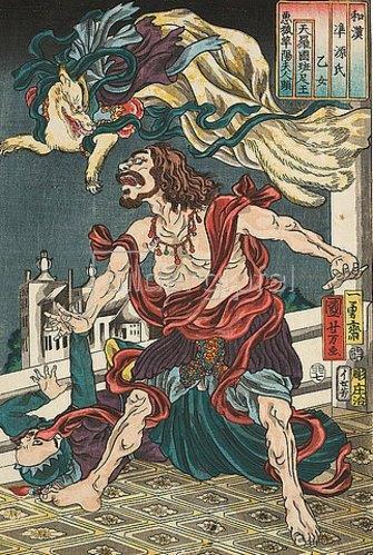 Utagawa Kuniyoshi: Die neunschwänzige Füchsin Madame Kayo bedrängt den siamesischen Prinzen Hanzoku (Aus der Serie Imaginierte schauspielerische Darstellungen aus Japan und China zu den Kapiteln des Genji-Romans). 1855