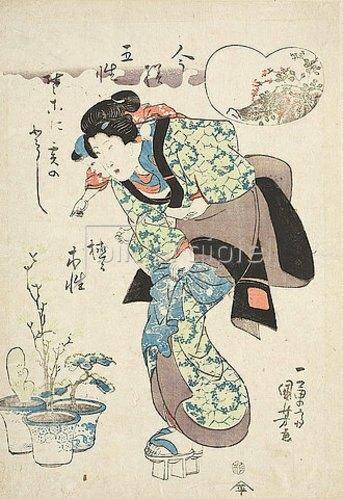 Utagawa Kuniyoshi: Mutter und Kind (Aus der Serie Die fünf Opfertiere im Stil unserer Tage). Um 1835