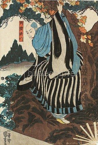 Utagawa Kuniyoshi: Karukaya zeigt sich seinem Sohn nicht (Aus dem Kabuki-Schauspiel Meister Karukaya und sein Andenken aus Kyushu). Um 1847